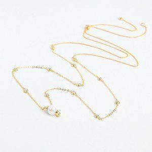 Henri Bendel Zircon Pearl Adjustable Necklace